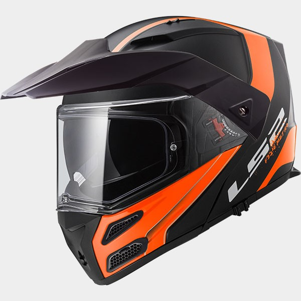CASCO MODULAR - LS2- POLICARBONO FF324 METRO EVO RAPID MATT BLACK ORANGE